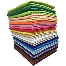 24 Hojas de Fieltro No Tejido Tela Fieltro Suave de Acrílico para Manualidades Patchwork Costura DIY Craft Trabajo 30*30cm Espesor 1,4mm Colores Mixtos with Hilos de Colores Set