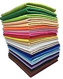 24Pcs Filzstoff Farbig Bastelfilz Weich Vliesstoff DIY