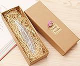 eMosQ Lesezeichen im Feder-Design, handgefertigt, klassisches Design, Metall/Messing, in wunderschöner Geschenkverpackung  silber