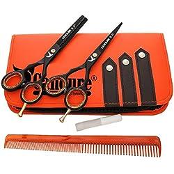 """CANDURE Ciseaux de coiffure Barber Salon de coupe de cheveu Noir Vis éclaircie. 5.5"""""""