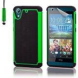 HTC Desire 626 Funda Carcasa Rígida Shockproof de Doble Capa de Alta Proteccion Defender de 32nd®, incluye protector de pantalla, paño de limpieza y lápiz optico - Verde