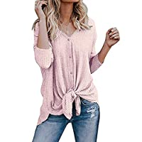 Roselux Womens Henley Shirts Long Sleeve Waffle Knit Tunic Blouse Tie Knot Button Down Loose Fitting Tops (Light Pink,S)