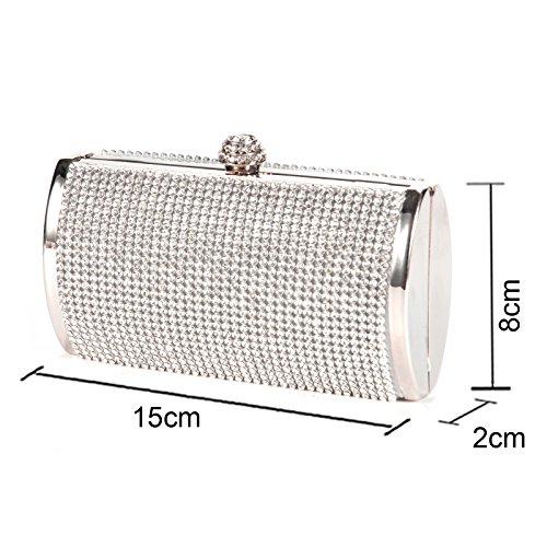Luxus Krone Damentasche Tasche Clutch Handtasche Abendtasche Brauttasche mini Bag mit Strass für Party Hochzeit silber