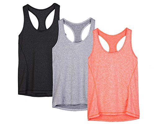 icyzone® Damen Funktions-Tanktop Sporttop Unterhemd Stretch fuer Yoga Fittness training Damen Tanktop Racerback ,Black/Granite/Orange,L