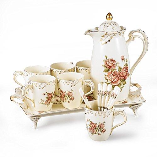 Panbado,12 piezas Servicio de café de porcelana de marfil, juego de juego de técafé