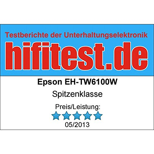 Bild 12: Epson EH-TW6100 3D Heimkino 3LCD-Projektor (Full HD 1080p, 2.300 Lumen Weiß & Farbhelligkeit, 40.000:1 Kontrast, 2x HDMI (1x MHL), inkl. 1x 3D Brille) schwarz