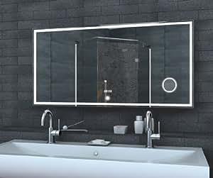 miroir lumineux led avec interrupteur tactile d 39 horloge de miroir de maquillage l ger120x60cm. Black Bedroom Furniture Sets. Home Design Ideas