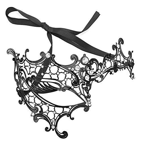 Littleduckling, venezianische Maske, filigranes Design, Metall und Strasssteine, für aufregende Verkleidungen Gr. Einheitsgröße, Half Face