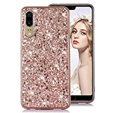 Moiky Rose Gold Glitter Coque pour Huawei P20 Pro,Cristal Placage Étui pour Huawei P20 Pro, Luxe 3D Paillette Brillant Strass Diamant Ultra Slim Flexible Soft TPU Silicone Antichoc Housse