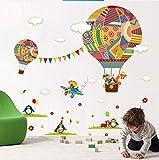 zoomingmingli Coloré Voler Montgolfière Nursery Room Décor Sticker Mural Girafe Enfants S Salle De Bande Dessinée Classe Stickers Muraux Affiche