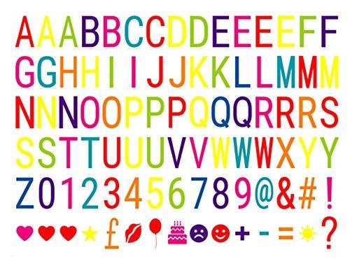 Ai-life 90 Stück DIY Dekorativ Farbe Buchstabe-Karte Symbole Nummern Graph Ergänzungsset für A4 Gestaltbar Cinematic Light Box, Ergänzungsset Celebrations für Urlaub Dekoration Symbole