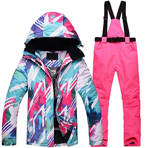 ZXGJHXF Weibliche Skifahren oder Snowboarden Anzug Jacke und Hose im Freien Wasserdichte Winddichte Klage Winter Thermo Mantel und Hose,color1,S | 06914421973567