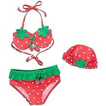 7fce0f91def ARAUS Niñas Traje de Baño Tres Piezas para Niña Cuello Halter para Bebé Bikini  Bañador Mameluco