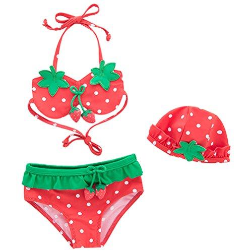 e002343b4 ARAUS Niñas Traje de Baño Tres Piezas para Niña Cuello Halter para Bebé  Bikini Bañador Mameluco