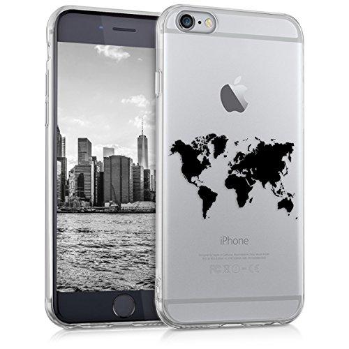 kwmobile, Custodia protettiva in silicone TPU per Apple iPhone 6 / 6S, Nero trasparente (Design Contorno mappamondo)
