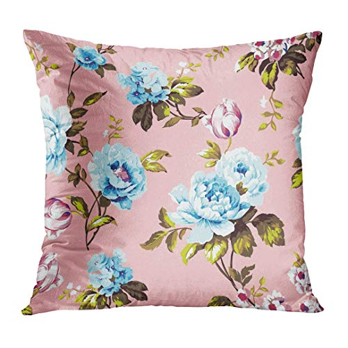 ncnhdnh Throw Pillow Cover Blue Abstract Shabby Chic Vintage Roses Tulips and Forget Me Nots Classic Chintz Floral Raster Colorful Decorative Pillow Case Home Decor Square 20x20 Inches Pillowcase Blue Rose Chintz