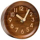 SODIAL Reloj Analógico De Mesa y Escritorio De Madera Hecho De Pino Genuino (Oscuro)- Funciona a Batería con un Preciso Mecanismo De Barrido Silencioso