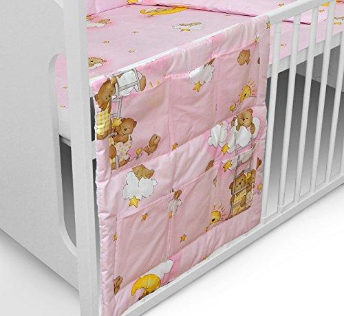 COT TIDY ORGANISER FOR COT BED 6 POCKETS FOR NURSERY BEDDING SET (Teddy Ladder Pink) Test