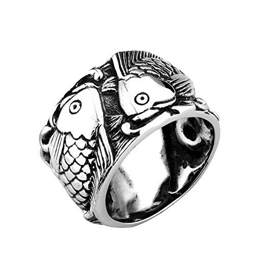 Beydodo Gothic Titan Ring für Herren Fische Freundschaftsring Schwarz Silber Punk Ring Größe 70 - Silber Fisch Kostüm