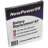 Kit de Reemplazo de la Batería para Samsung GALAXY Note 10.1 Serie (GALAXY Note 10.1 GT-N8000, GALAXY Note 10.1 GT-N8000, GALAXY Note 10.1 GT-N8013) Tablet con Video de Instalación, Herramientas y Batería de larga duración