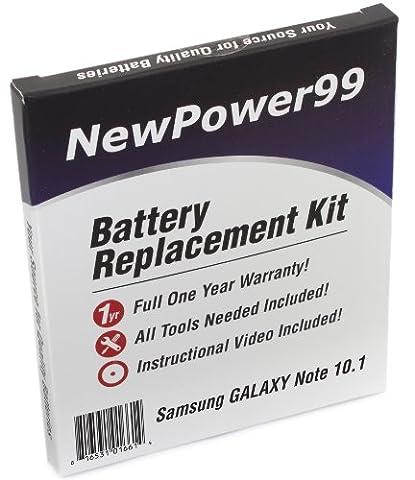 Akku-Austausch-Kit für das Samsung GALAXY Note 10.1 GT-N8000, GT-N8010, und GT-N8013 Modellen mit Installations-Video, Werkzeuge und langarbeitenden