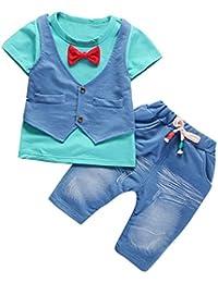 Malloom Conjunto Bebé, Recién Nacido Bebé niño niña Rayas Camiseta Tops + Pantalones Conjunto de Ropa 12 Mes - 4 Años Boy Chaleco Falso Dos Piezas