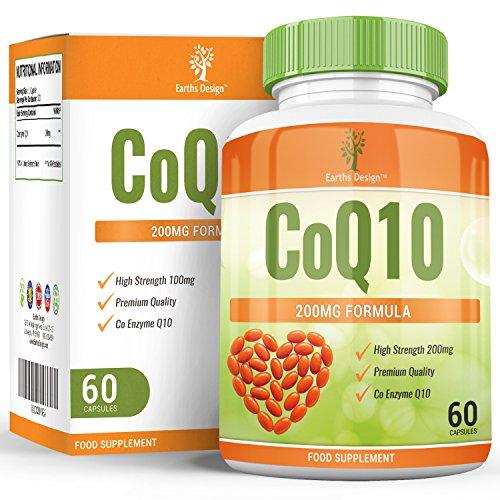 Coenzym Q10 200 mg - CoQ10-Nahrungsergänzungsmittel - Hochdosiertes CoQ10 - 60 Kapseln (30 Tage Vorrat) von Earths Design