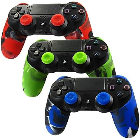 DOTBUY Silicone Case Denso Metà Custodia Protettiva per PS4 x 3 + 6 Controller analogico puntina manopole Cap (Camo Red,Green,Blue)
