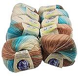 Alize Baby Wool Lot de 10 pelote de Laine à Tricoter avec 20% Bambou et 40% Laine 500 g de Laine tricotée avec dégradé de Couleurs Multicolore...