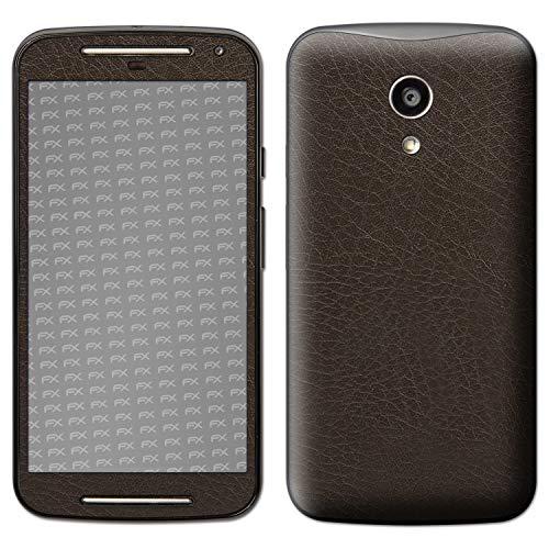 atFolix Skin kompatibel mit Motorola Moto G 2. Generation 2014, Designfolie Sticker (FX-Leather-Brown), Feine Leder-Struktur