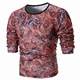 MRULIC Mode Herren Langarm Printed Shirt Top Sweater Pullover(Rot,EU-52/CN-3XL)