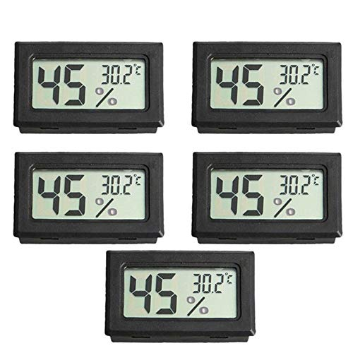 Thermo-Hygrometer, Gecheer 5 stücke LCD Digital Temperatur-Feuchtigkeitsmesser Thermometer, Mini Luftfeuchtigkeit Tester Hygrometer Wireless Thermometer Hygrometerfür Babyraum, Wohnzimmer, Büro, usw. - Wireless Thermo-hygrometer