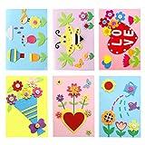 Dsaren 6 Pezzi DIY Biglietto Dauguri Bambini Creative Handmade Kit di Fabbricazione Carta con Busta per Festa della Mamma, Festa del papà, Giorno del Ringraziamento, Natale e Compleanno