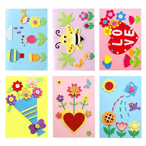Dsaren 6 Stücke DIY Grußkarte Kinder Kreative Handgemachte Karten Basteln Set für Muttertag, Vatertag, Erntedankfest, Das Erntedankfest, Weihnachten und Geburtstag