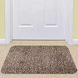 Felpudo para la puerta delantera Alfombra de entrada interior Felpudo grande para uso en el interior Alfombrilla antipolvo Algodón lavable Raspador de pies interior 45,5x71,1cm Marrón