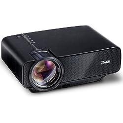 Mini proyector, Proyector de vídeo portátil RAGU Z400 Entretenimiento en Casa Proyector LED 800 * 480 Full HD 1080P para PC portátil PS4 XBOX Teléfonos Inteligentes Android iPhone TV, Negro