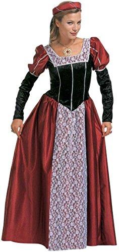 Widmann 35482 - Erwachsenenkostüm Burgfräulein, Kleid mit Kopfbedeckung und Schleier