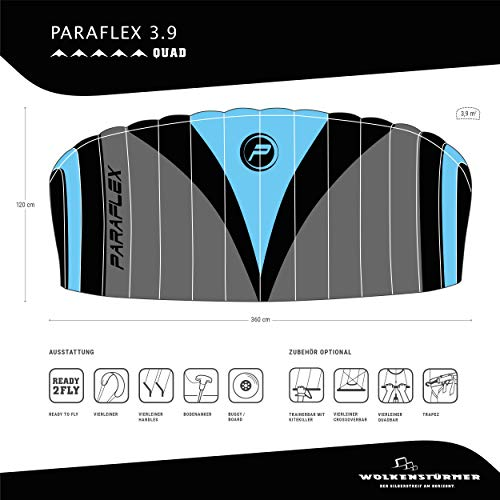 Wolkenstürmer Paraflex Quad 3.9, 4-Leiner Action Lenkmatte - Hochwertiger Kite mit Bar