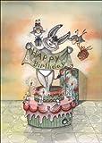 Lustige Geburtstagskarte mit Esel, der aus der Torte springt: Happy Birthday • auch zum direkt Versenden mit ihrem persönlichen Text als Einleger.