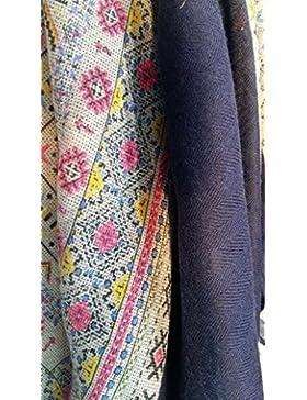 Hope1967 - Foulard de Mujer estampado color azul y rosas