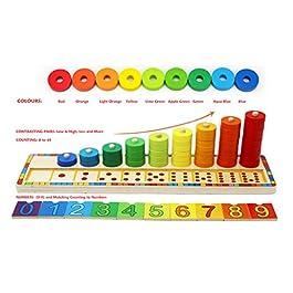 Toys of Wood Oxford Anelli impilabili in Legno – Set di 45 Anelli per Imparare la Matematica, contare e Imparare i Colori – Giocattolo educativo in Legno per Bambini