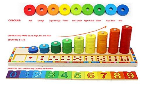 Toys of Wood Oxford Stapelringe Holz - Zählen Lernen Spiel mit 45 Ringe -holzspielzeug 3 Jahre