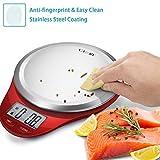 Camry Balance de Cuisine Electronique, Balance Alimentaire Numérique Plateforme Acier Inoxydable Écran LCD, 5kg/11lb,Haute Précision,Fonction Tare, Auto-Arrêt (Rouge)