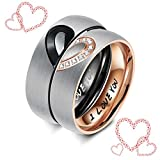 Sllaiss His & Hers Anillos Bandas de compromiso Love Heart Promise Ring Couples Conjuntos de anillos de boda para él y sus anillos de cristal Swarovski Anillos de boda