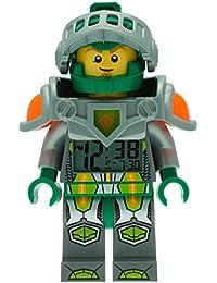Réveil figurine lumineux Aaron de LEGO Nexo Knights pour enfant | vert/gris | plastique | hauteur de 24cm | écran LCD | garçon/fille | produit officiel