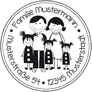 Familienstempel   Stempel personalisiert mit Familienname und Adresse   Adressstempel   Eltern mit 3 Mädchen