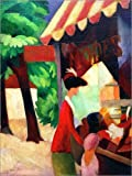 Posterlounge Leinwandbild 120 x 160 cm: vor Dem Hutladen von August Macke/akg-Images - fertiges Wandbild, Bild auf Keilrahmen, Fertigbild auf Echter Leinwand, Leinwanddruck