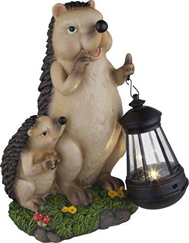 Gartendeko mit LED Solarleuchte Solar-Lampe Solarlicht Gartenleuchte Igel (Gartenfigur mit Beleuchtung, Außen-Laterne, Akku, Gartenlampe, Gartenlicht)