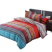 ZhongYe 4pcs Moroccan Bohemian Duvet Cover Set Indian Bohemia Exotic Quilt Covers Lightweight Microfiber Mandala Bedding Set with Flat Sheet Pillow Case (King(220x240cm))