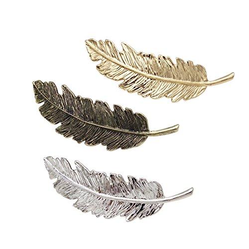Petalum Damen 3 Pcs Haarspange Metallliegerung Vintage Feder Barrette Haarclips Mädchen Haarschmuck 3 Farben (9, Metalllegierung) (Mädchen Kurze Federn)